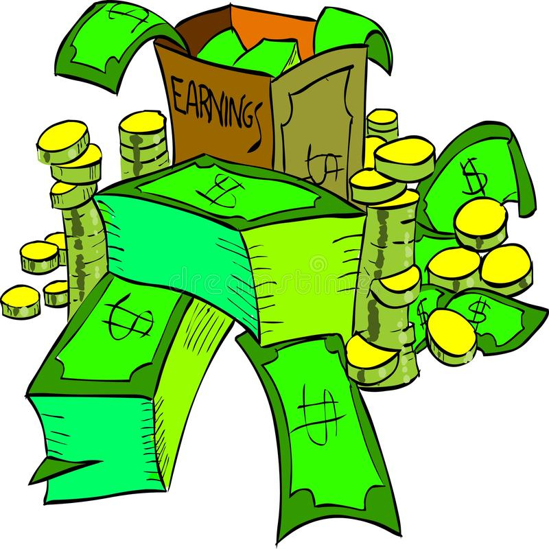 Money. A bunch of money. It represents the earnings of your bussiness. Also available as Adobe Illustrator (AI) format royalty free illustration
