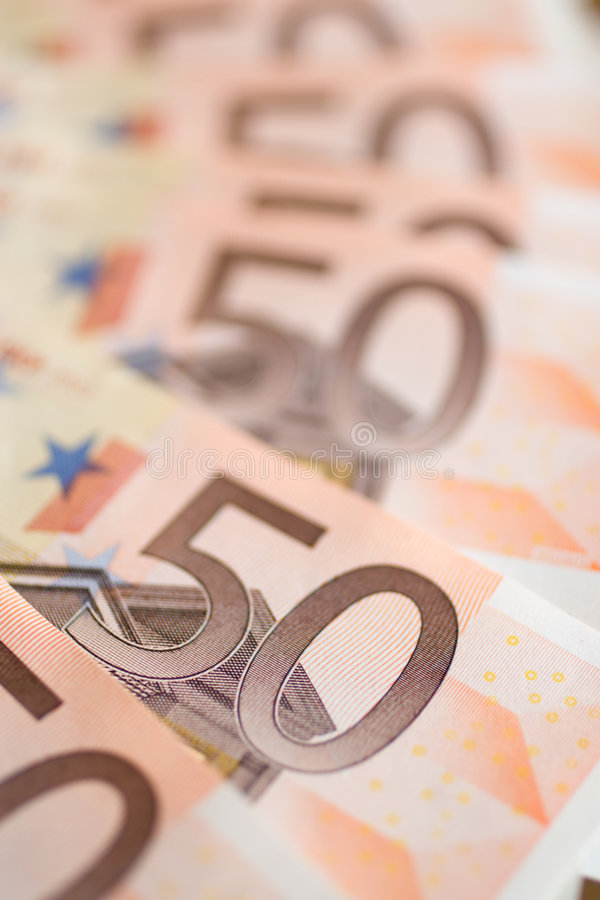 Money. Banknotes of 50 Euros opened in fan stock image