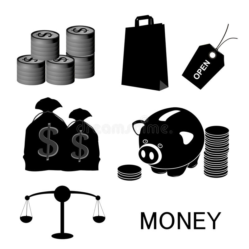Money. A lot of black silhouettes of money related elements royalty free illustration