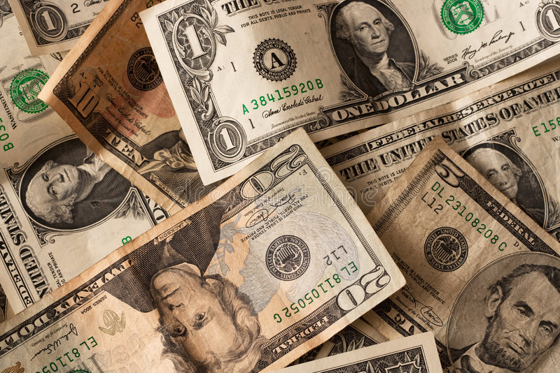 Money. A disordered batch of various dollar cash stock image