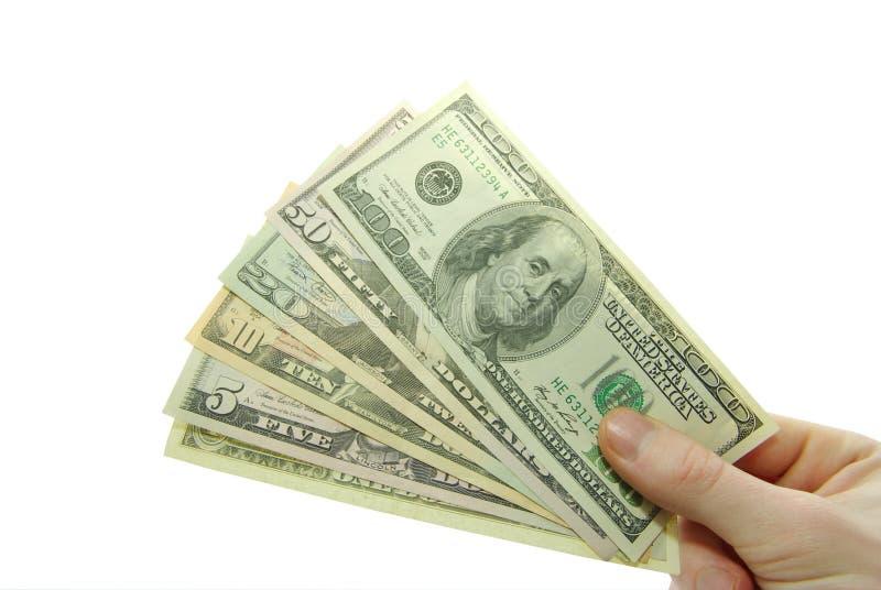 Money. Hand with money isolated on white background stock image