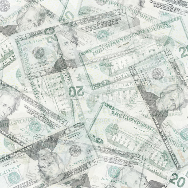 Money abstract background. Abstract money background from translucent twenty dollars royalty free stock photos