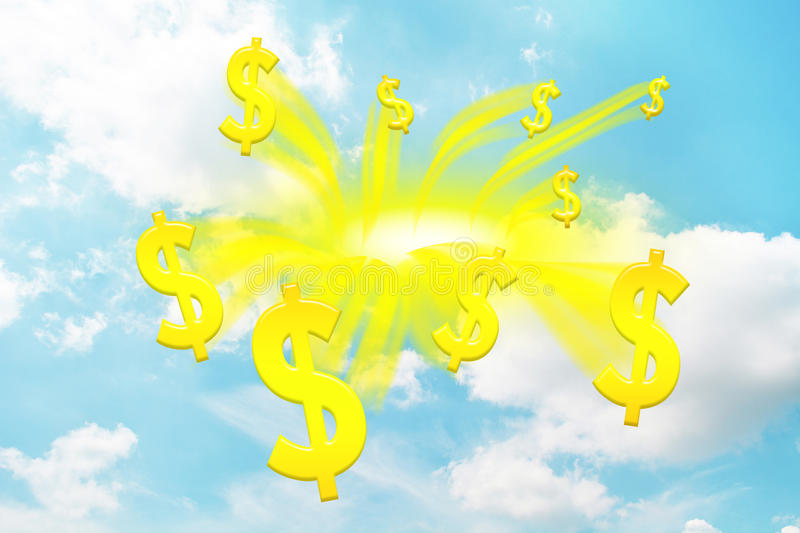 Money abstract. Money drop from sky,gold money abstract vector illustration