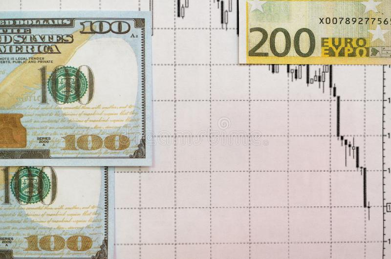 Money Against The Background Of Financial Stock Charts  Stock Image