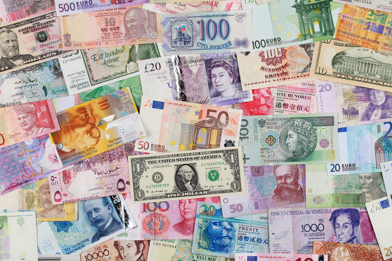Money from all over the world royalty free stock image