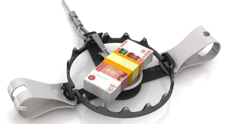 Money as a dangerous lure. Pack of 5000 Russian rubles, tied with a ribbon as bait in trap on a white surface. . 3D Illustration stock illustration
