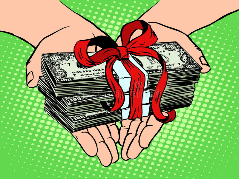 Money as a gift. Financial income stock illustration