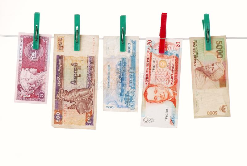 Money of asian countries stock image