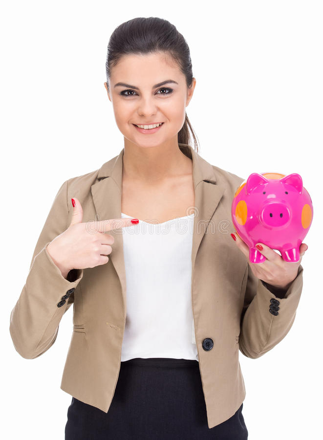 Money. Attractive young woman with moneybox isolated on a white background royalty free stock photo