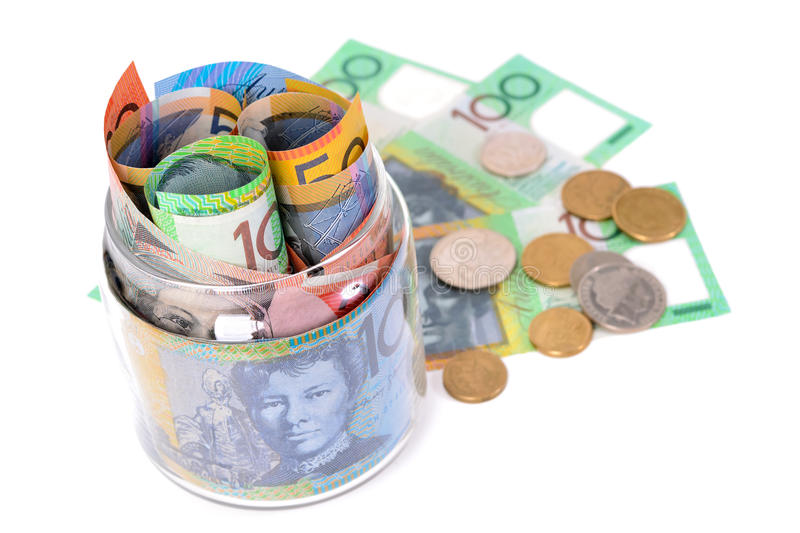 Money - Australian dollar banknotes and coins royalty free stock images