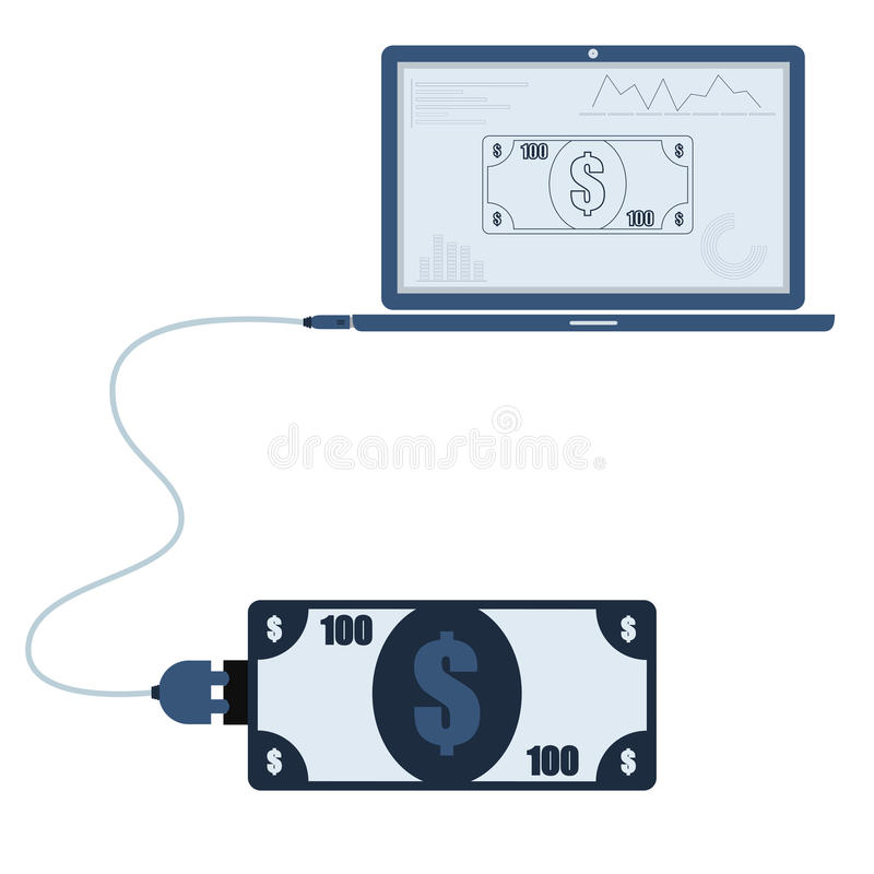 Money automation using laptop. Money connected to a laptop through a usb cable. Outline of the banknote and graphs being shown on the computer monitor. Flat vector illustration