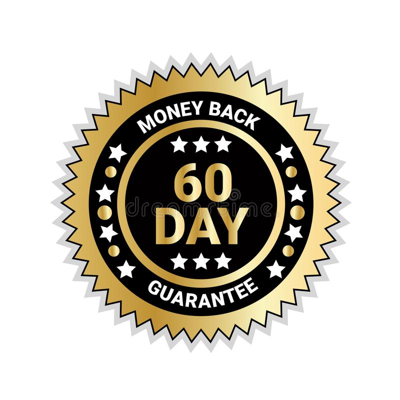 Money Back In 60 Days Guarantee Badge Golden Medal Isolated stock illustration