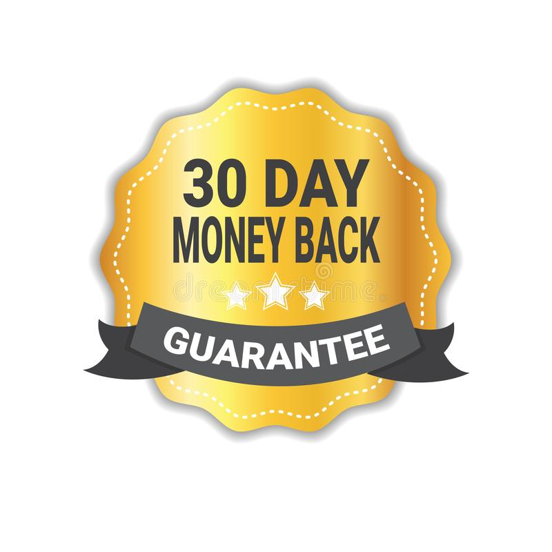 Money Back In 30 Days Guarantee Sticker Golden Medal Icon Seal Isolated. Vector Illustration royalty free illustration