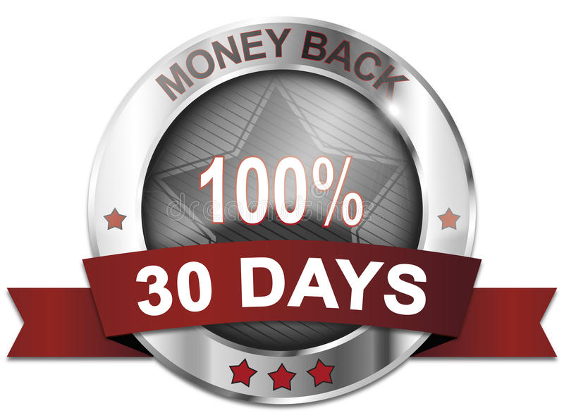 Money back 30 days. Button vector illustration