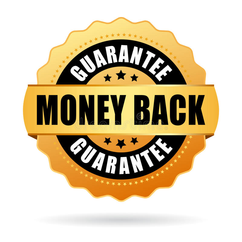 Money back gold icon. Vector illustration on white background stock illustration