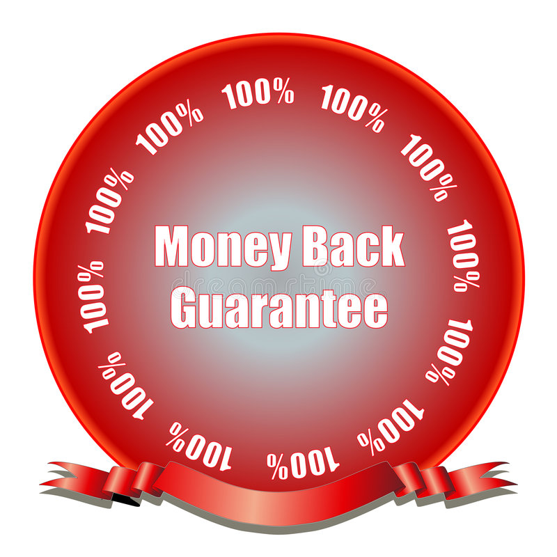 Money Back Guarantee. D with seal of approval. Fully scalable vector illustration stock illustration