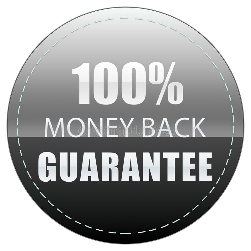 100% MONEY BACK GUARANTEE. COLORS BLACK WHITE AND GREY ICON BADGE LABEL ILLUSTRATION. 100% MONEY BACK GUARANTEE, BLACK WHITE GREY COLORS WEB PRODUCT ICON BADGE royalty free illustration