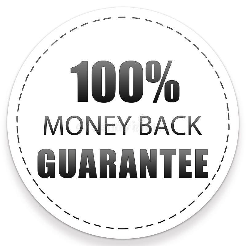 100% MONEY BACK GUARANTEE BLACK WHITE ICON LABEL COLOR ILLUSTRATION DESIGN. FOR YOU royalty free illustration