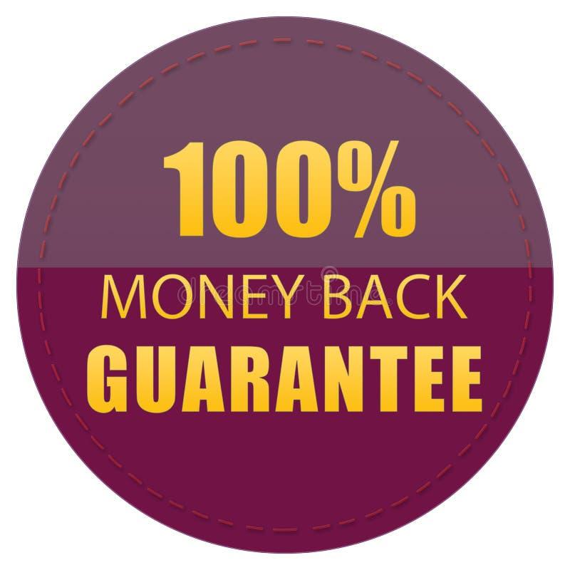 100% MONEY BACK GUARANTEE CLARET RED YELLOW COLORS WEB ICON BADGE LABEL, ILLUSTRATION. 100% MONEY BACK GUARANTEE, CLARET RED YELLOW COLORS WEB PRODUCT ICON BADGE stock illustration