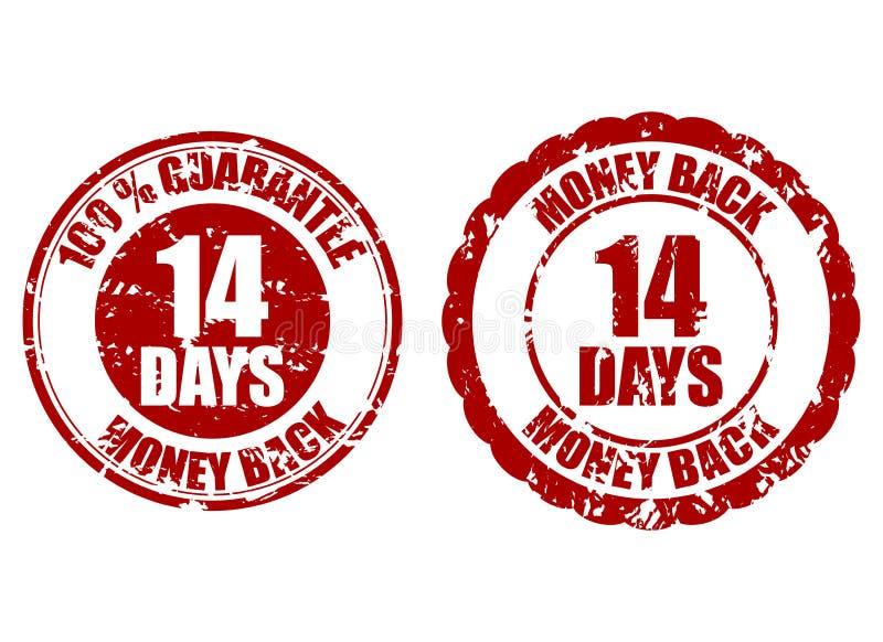 Money back guarantee 14 days rubber stamp royalty free illustration