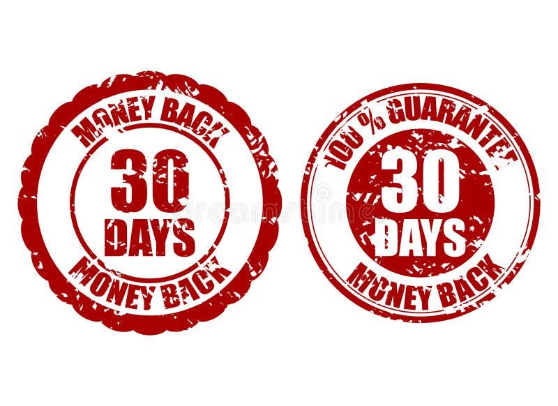 Money back guarantee 30 days rubber stamp vector illustration