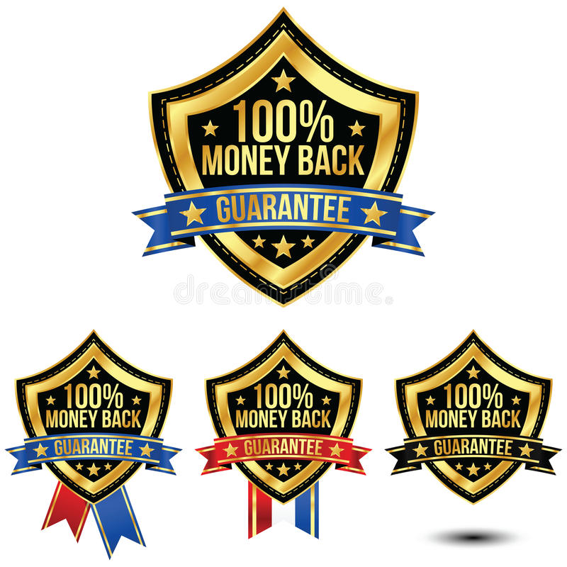 Money Back Guarantee. A gold 100% Money Back Guarantee shield and ribbon. A patriotic symbol for the american audience vector illustration