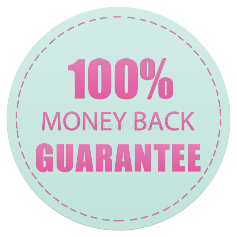 100% MONEY BACK GUARANTEE, PINK AND GREEN COLORS ICON LABELS ILLUSTRATION stock photos
