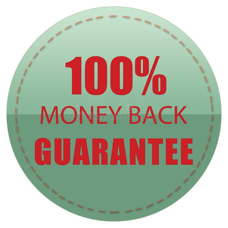 100% MONEY BACK GUARANTEE, GREEN RED COLORS WEB PRODUCT ICON LABEL, ILLUSTRATION FOR YOU. 100% MONEY BACK GUARANTEE, GREEN RED COLORS WEB PRODUCT ICON BADGE vector illustration