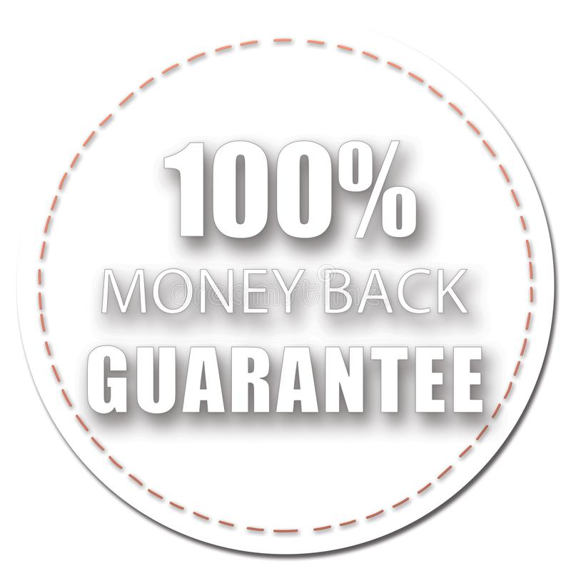 100% MONEY BACK GUARANTEE ICON BADGE DESIGN LABELS WHITE SHADOW COLOR ILLUSTRATION. 100% MONEY BACK GUARANTEE LABEL WHITE SHADOW COLOR ILLUSTRATION DESIGN FOR vector illustration