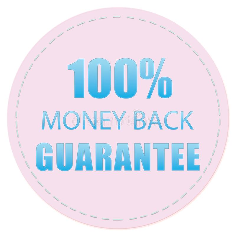 100% MONEY BACK GUARANTEE ICON, LABELS ILLUSTRATION DESIGN PINK BLUE COLORS. 100% MONEY BACK GUARANTEE ICON LABEL COLOR ILLUSTRATION DESIGN PINK BLUE FOR YOU vector illustration