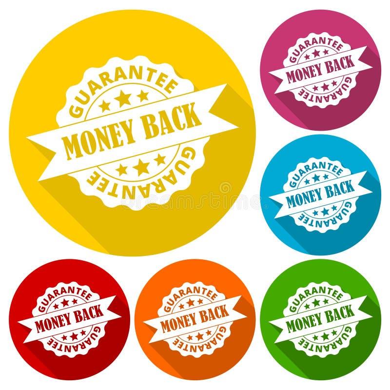 Money back guarantee icons set with long shadow stock illustration