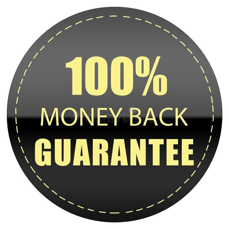 100% MONEY BACK GUARANTEE LABEL ICON BADGE BLACK YELLOW ILLUSTRATION. 100% MONEY BACK GUARANTEE LABEL BLACK YELLOW COLOR ILLUSTRATION DESIGN FOR YOU stock illustration