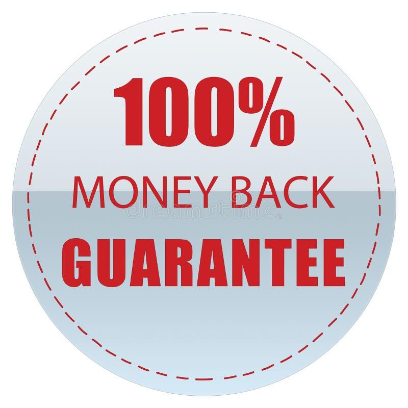 100% MONEY BACK GUARANTEE LABEL GREY COLOR ILLUSTRATION stock illustration