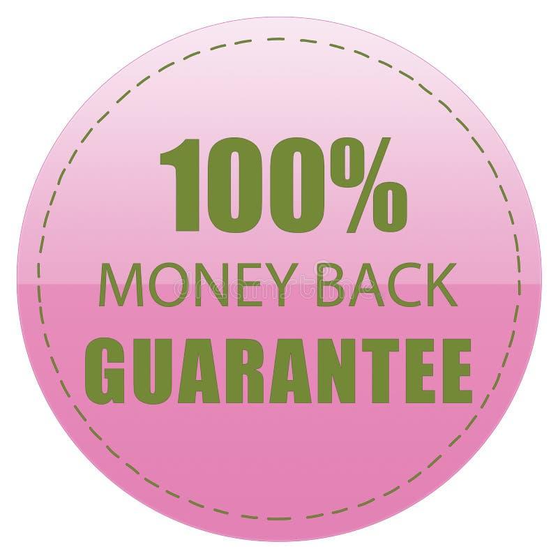 100% MONEY BACK GUARANTEE LABEL PINK GREEN COLOR ILLUSTRATION. DESIGN FOR YOU royalty free illustration