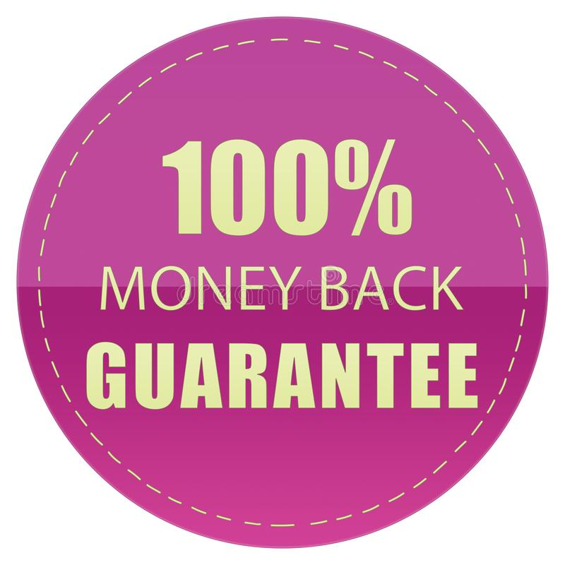 100% MONEY BACK GUARANTEE LABEL YELLOW & PINK COLOR ILLUSTRATION. DESIGN FOR YOU vector illustration