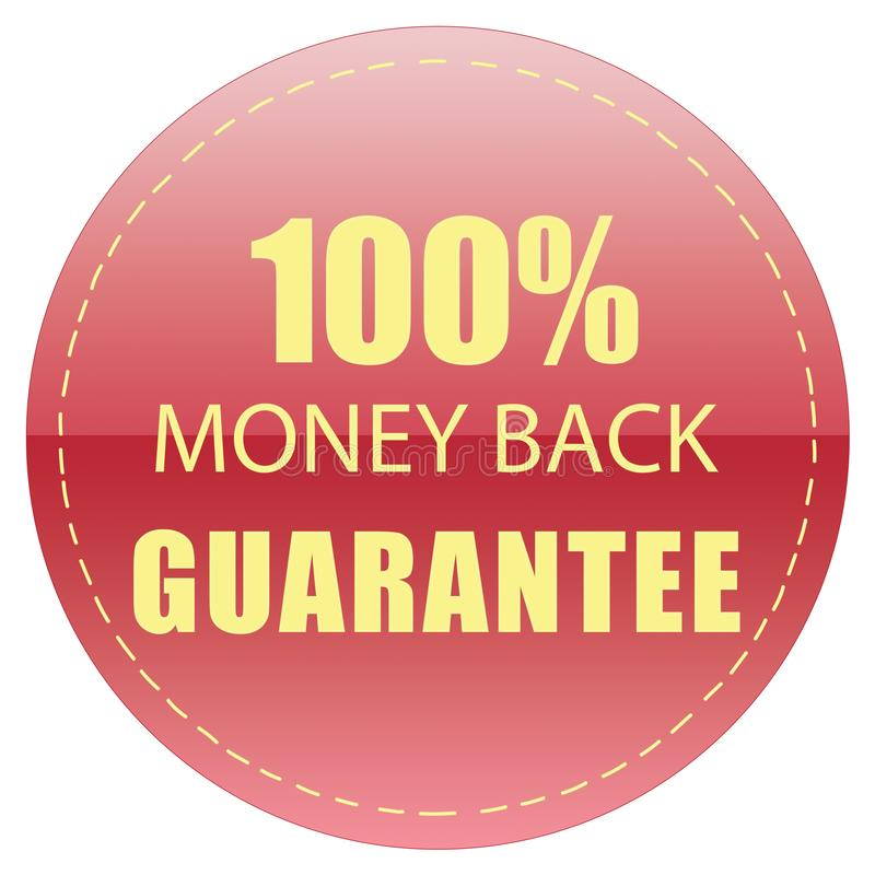 100% MONEY BACK GUARANTEE LABEL YELLOW RED COLOR ILLUSTRATION. FOR YOU stock illustration