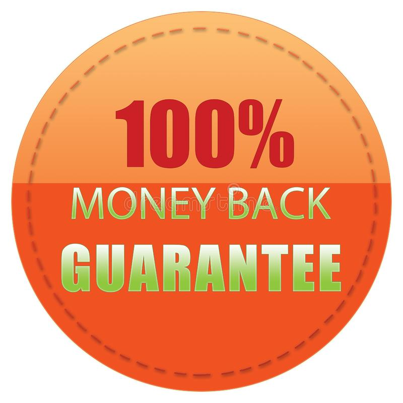 100% MONEY BACK GUARANTEE ORANGE RED GREEN ICON BADGE LABEL, ILLUSTRATION DESIGN. 100% MONEY BACK GUARANTEE, ORANGE RED GREEN COLORS WEB PRODUCT ICON BADGE LABEL royalty free illustration
