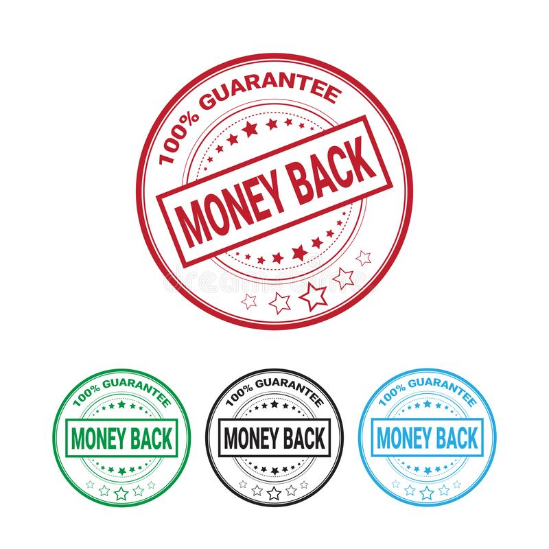 Money Back Guarantee 100 Percents Label Set Template Isolated vector illustration