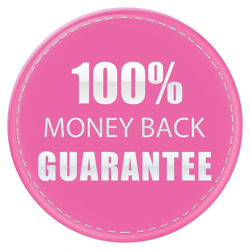 100% MONEY BACK GUARANTEE, PINKY WHITE COLORS WEB PRODUCT ICON BADGE LABEL, ILLUSTRATION DESIGN. 100% MONEY BACK GUARANTEE ICON PINK WHITE COLORS LABELS stock illustration