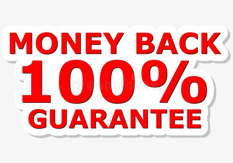 Money Back 100% Guarantee Red Sign vector illustration