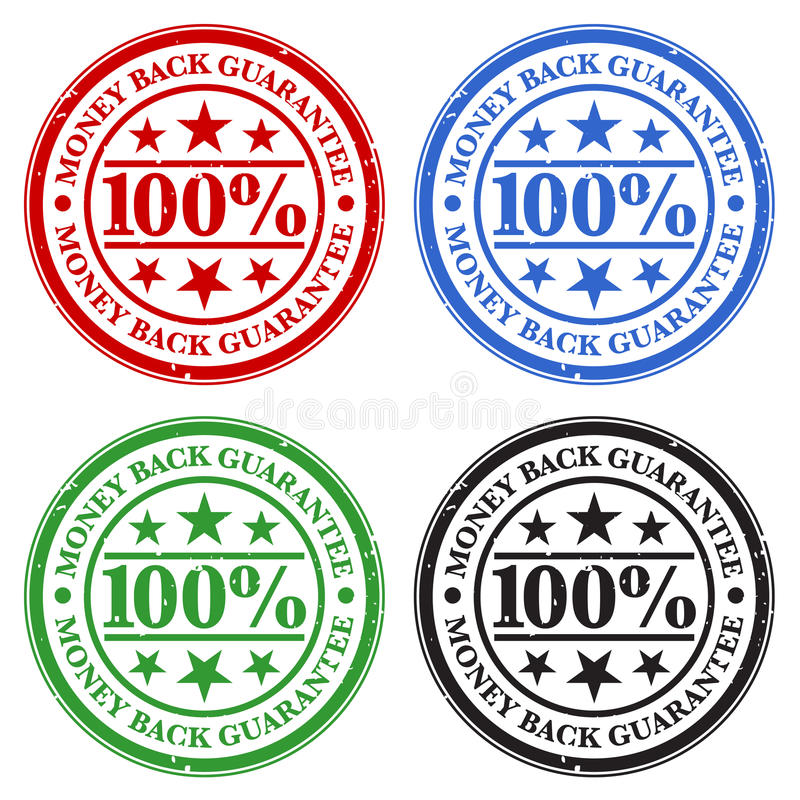 Money Back Guarantee Stamps vector illustration