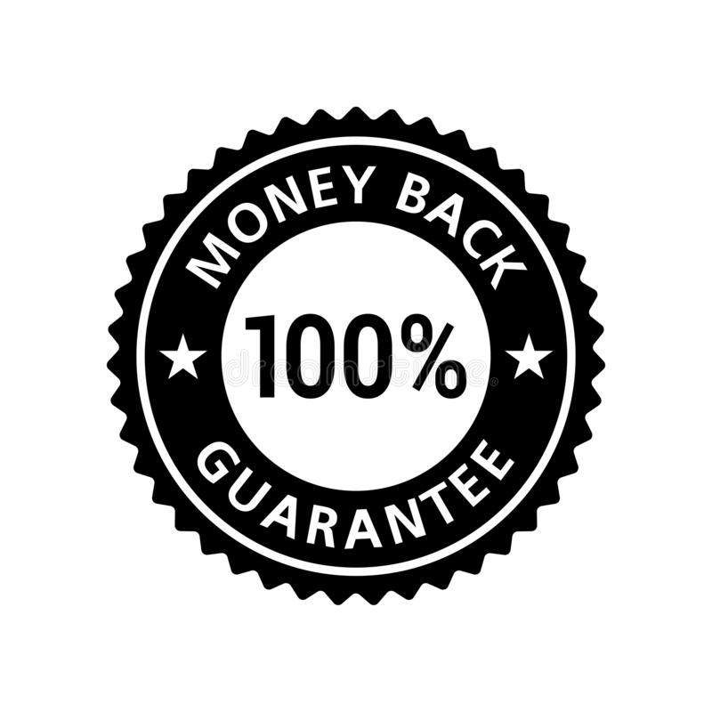Money Back Guarantee 100% sticker stock illustration