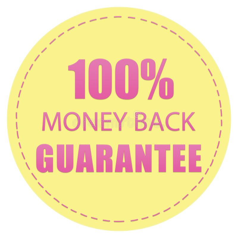 100% MONEY BACK GUARANTEE YELLOW AND SUGAR PINK COLOR ICON LABEL ILLUSTRATION DESIGN. FOR YOU royalty free illustration