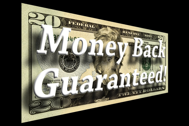 Money Back Guaranteed Concept. On a twenty dollar bill isolated on black vector illustration