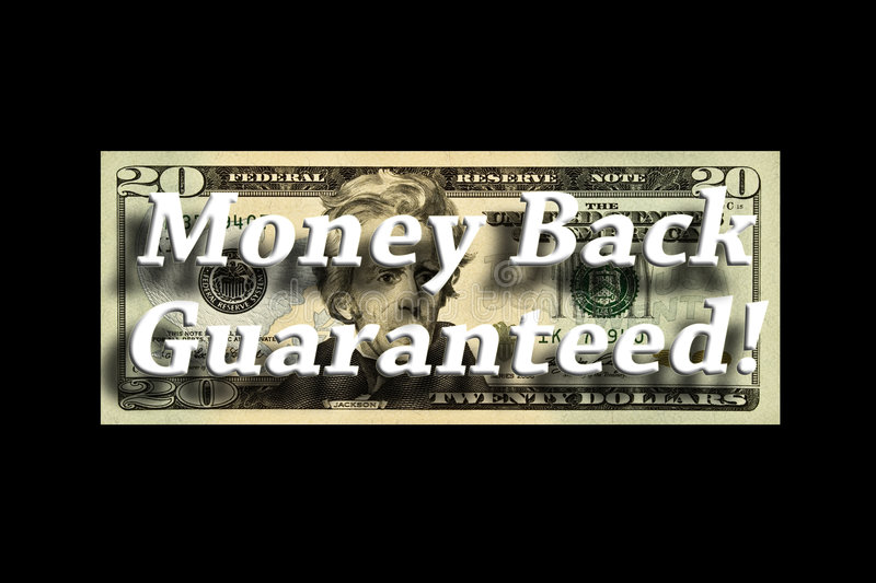 Money Back Guaranteed Concept. On a twenty dollar bill isolated on black royalty free illustration