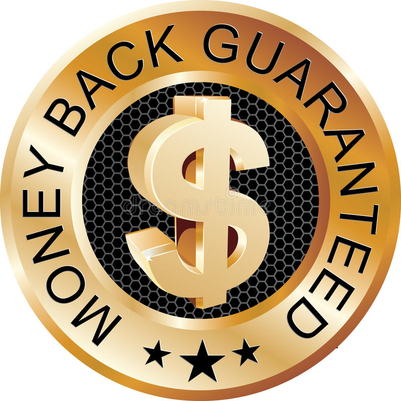 Money Back Guaranteed Gold. Sign with money symbol vector illustration