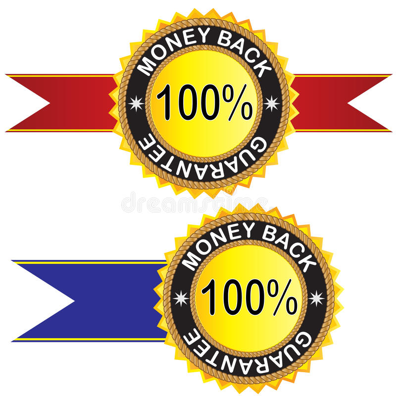 Money back guaranteed label. For your design royalty free illustration