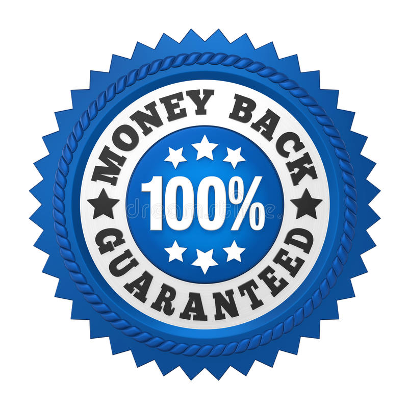 Money Back Guaranteed Label Isolated. On white background. 3D render royalty free illustration