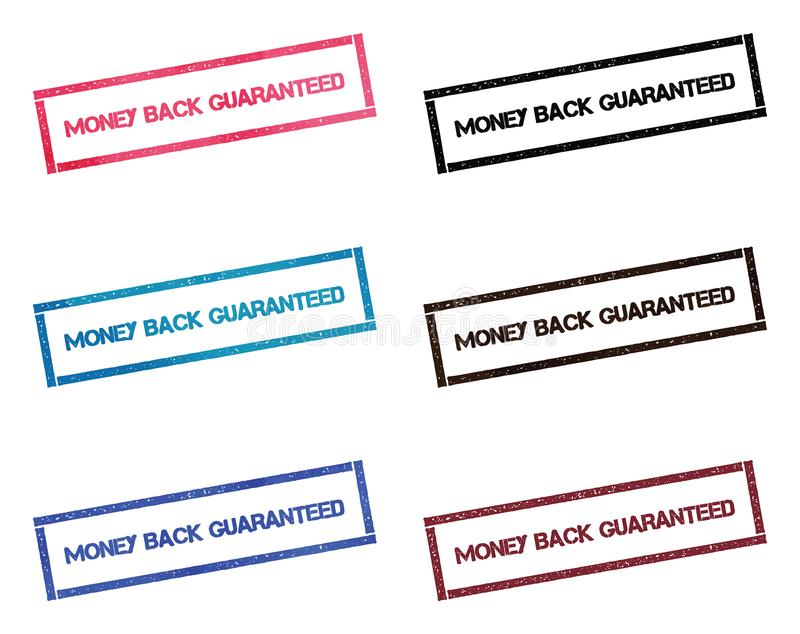Money back guaranteed rectangular stamp. vector illustration