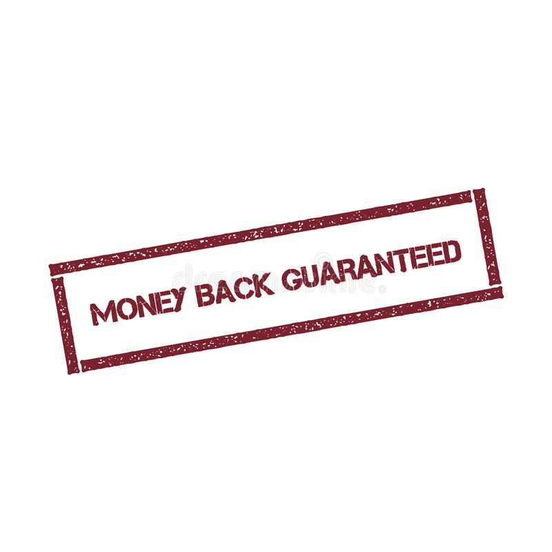 Money back guaranteed rectangular stamp. Textured red seal with text isolated on white background, vector illustration stock illustration